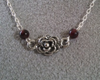 Delicate Pewter Rose and Garnet Necklace on a fine Silver Chain