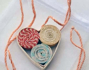 Heart shaped, colourful little paper pendant necklace, perfect gift for Valentine's Day