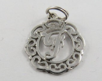 "Initial ""F"" Sterling Silver Charm or Pendant."