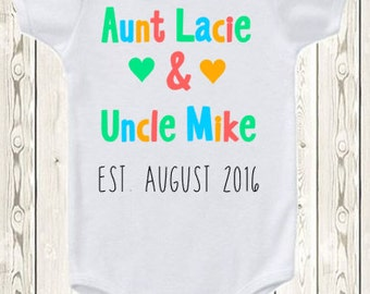Pregnancy announcement idea for Aunt uncle  ONESIE ® brand bodysuit or shirt pregnancy reveal ideas aunt uncle ONESIE ® brand bodysuit