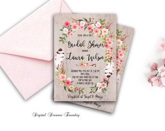 Floral Bridal Shower Invitation Printable, Boho Bridal Shower Invite, Bohemian Bridal Shower, Blossom Bridal Invite, Fall Bridal Invitation