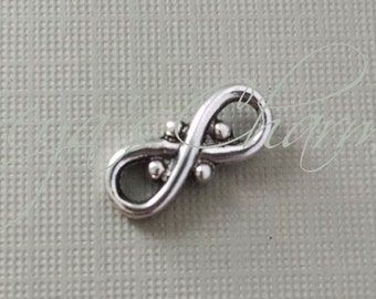 10 Fancy Infinity Charms, Swirly Pendant, Figure 8 Charm, Link, Fancy Chain Link, Infinity Link, Antiqued Silver, Connector, 16.5mm