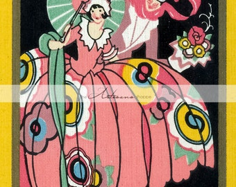 The Belle Art Deco Couple Colourful Art Image - Digital Download Printable - Altered Art Paper Crafts Scrapbooking - Romantic Surprise Love