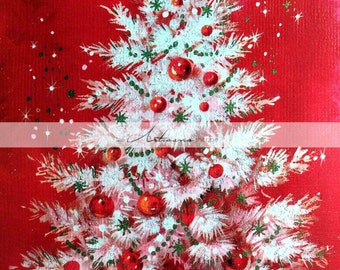 Digital Download Printable Art - White Christmas Tree On Red - Paper Crafts Scrapbooking Altered Art - Instant Art - Vintage Christmas Card