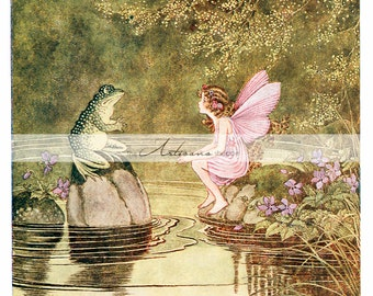 Fairy and Frog by Ida Outhwaite - Instant Art Printable Download - Altered Art Paper Crafts Scrapbook - Antique Vintage Fairies Art