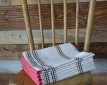 Handwoven Dish Towel - Cotton Dish Towel -Extra Large Size - Beige with Red, Green, Yellow Stripes - 100% Cotton