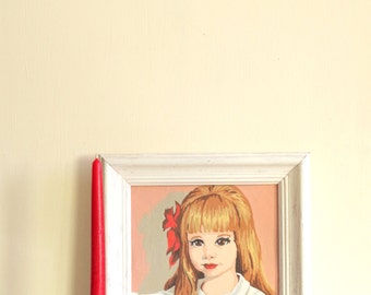 Framed Portrait PBN Paint By Numbers Girl White Framed Vintage Painting