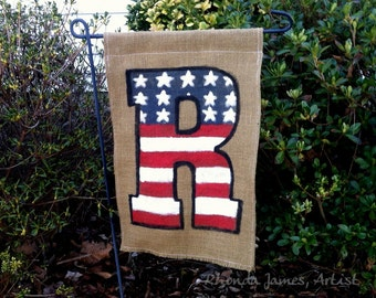 Patriotic 4th of July USA Burlap Garden Flag Initial Monogram Personalized American Rustic Outdoor Red White Blue Decor