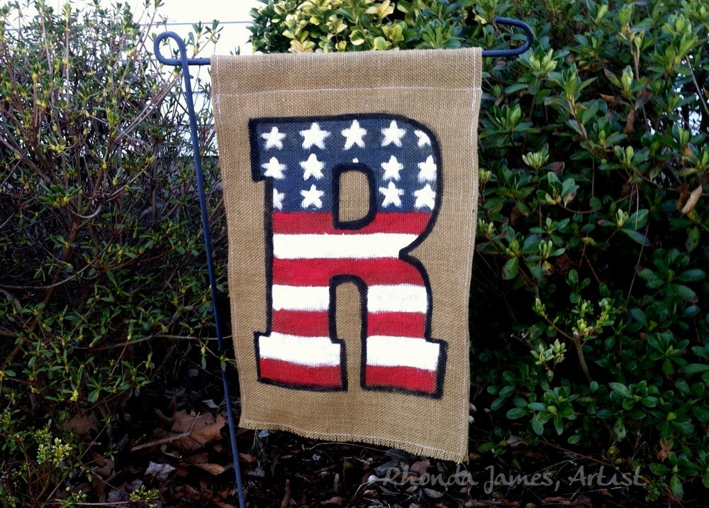 Patriotic 4th Of July Usa Burlap Garden Flag Initial Monogram