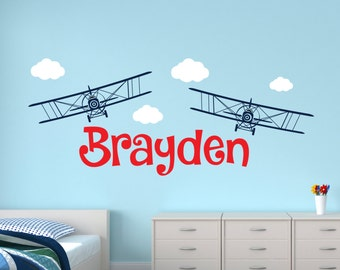 Personalized Name Wall Decal - Airplanes Wall Decal - Boys Room Decor - Nursery Wall Decal - Kids Vinyl Wall Decal