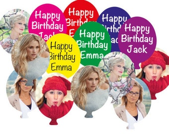 Personalised Table Confetti, any colour, any names, wording on front your photo on back balloon shaped