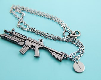Assault Rifle M16 Cross Fire Pendant Charm Necklace with Personalized Initial Necklace Military's Gift Men Jewelry Father 's Day Gift