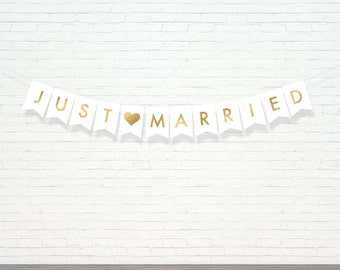 Just Married Banner - Wedding Banner - Gold Decor