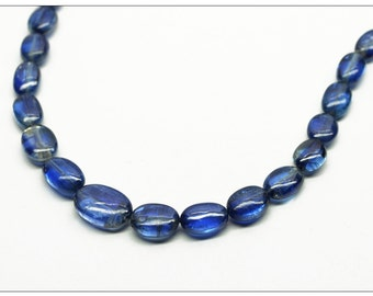 Strand of Fine Quality Kyanite Plain Tumbled Oval Beads - 16 Inches Each