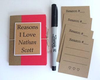 Personalize Reasons I Love You Book, Customize Love Book, Boyfriend Gift, Girlfriend Gift, Anniversary Gift, Custom Mini Love Book