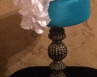 1960's Style Turquoise Blue Pillbox Hat