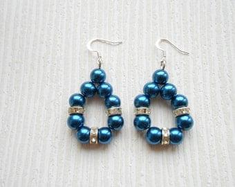 Blue pearl earrings, wedding earrings, bridal earrings, bridal jewelry, bridesmaid earrings, bridesmaid jewelry, bridesmaid gifts