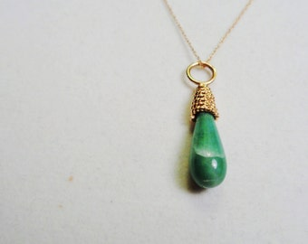 Onyx Necklace.  .  14kt. Gold Green Onyx Pendant with 10kt. Gold 18 inch Chain.