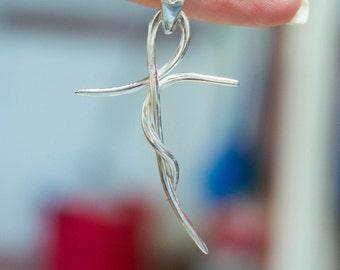 Sterling silver cross-Sterling Silver Cross Necklace-Silver minimalist Cross-Christian cross-Womens cross necklace-Modern cross-Wire cross