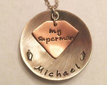 Husband Memorial Superman Necklace ~ Round Large Domed Sterling Silver Pendant with Name & Angel Wings with Copper Superman Logo