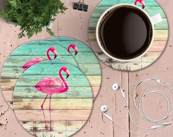 Pink flamingo Coasters, Key West Chic Flamingos on Wood, Set of 4 Tropical Coasters, Shabby Beach House Coaster, Summer Coasters