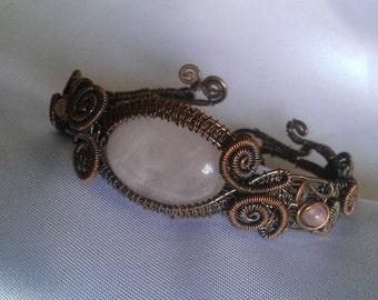 copper bracelet , quart bracelet , wire wrapped bracelet , handmade jewelry , christmas present
