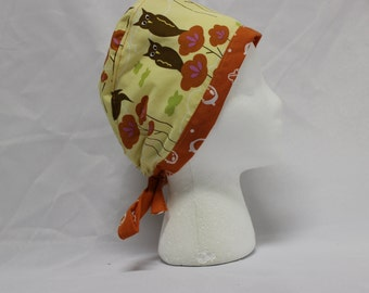 Autumn Owls Yellow Surgical Scrub Cap Chemo Dental Hat