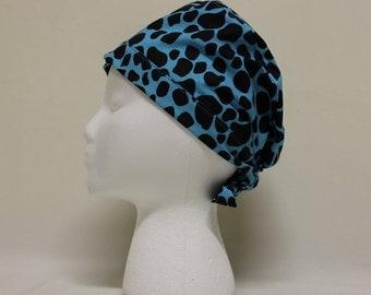 Blue and Black Giraffe Spots Surgical Scrub Cap Chemo Hat