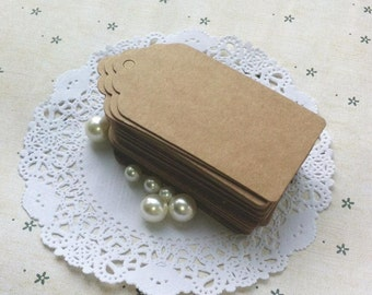 Brown Kraft Tags w/Strings /Gift Tags /Hang Tags/ Price Tags/ Name Tags/ Favor Tags/ Packaging Tags /Scallop edge (4.5*9.5cm) 50pcs