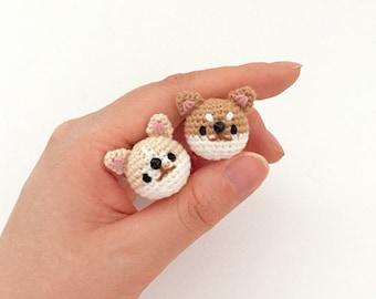 Dog, Puppy (Welsh corgi, Sibainu) - Crochet Animal Brooch, Corsage, Accessory, Amigurumi