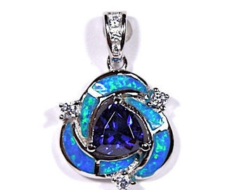 Tanzanite & Blue Fire Opal Inlay Solid 925 Sterling Silver Pendant For Necklace