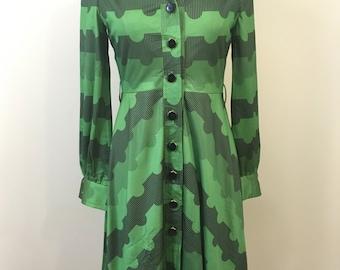 Vintage Japanese Dress 80s Green Black Geometric Stripes Circles Poly Blend