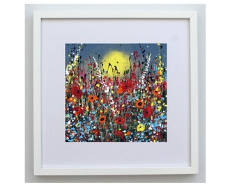 Original art print. Floral print. Landscape. 'When the Sun Shines' taken from my original acrylic painting. size 30 x 30 cm frame.