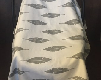 Grey & White Feather Carseat Canopy