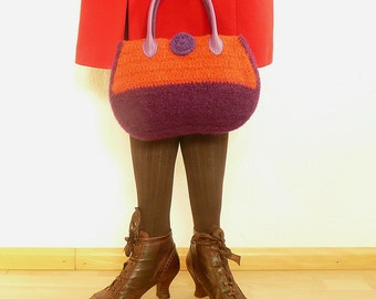 handbag felted and crocheted darkpurple/orange/olive, womens bag, handbag, shoulder bag, purse