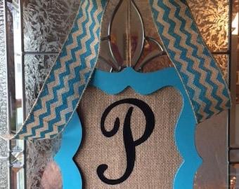 Burlap Door Hanger ~ Burlap Monogram Door Hanger ~ Monogram Door  ~ Monogram Door Decor ~ Framed Monogram Door Sign ~ Wedding Gift Idea