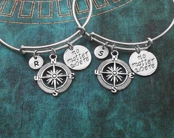 Compass Bracelet SET Compass Bangle Best Friends Bracelets Friendship Jewelry Daughter Bracelet Long Distance Charm Jewelry No Matter Where