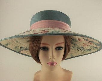 Wide Brimmed Sun Hat for Women size Large Handmade