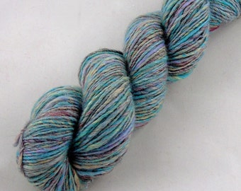 Hand spun yarn, Merino/BFL/Camel/Silk/Firestar, Thick and Thin DK weight in teal, lilac, biscuit and coral
