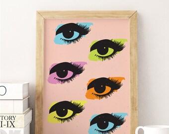 Pop Art Print, Eyes Print, Wall Art, Home Decor, Modern Decor, Glamour Decor, Fashion Illustration, Pop Art Poster, Inspirational Print.