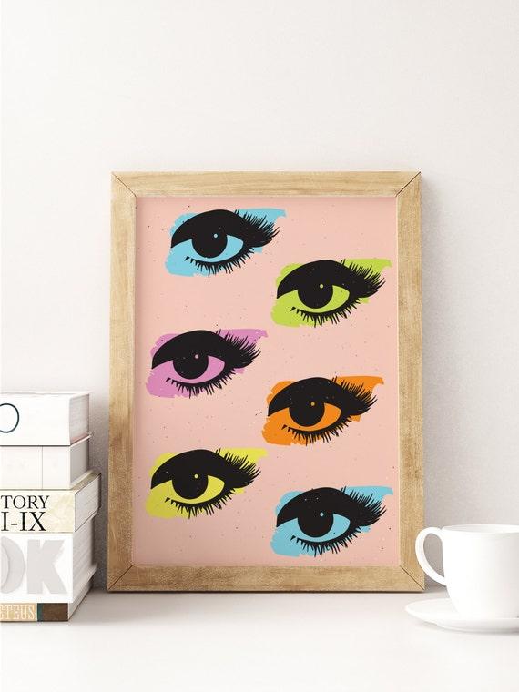 Wall Decor Pop Art : Pop art print eyes wall home decor modern