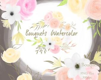 Boho flowers bouquets, wedding clipart elements, flowers, invite, bouquets, boho wedding invitation.