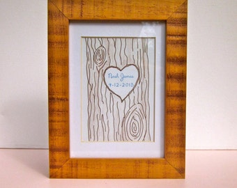Baby Name Carved in Tree w/ Birthdate Sign- FRAMED (5x7) art & customized print. Personalized hand drawn background. A unique shower gift!