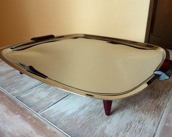 1950's Atomic Stainless Steel Tray /Brown Tapered legs and Handles / Mid-Century Modern