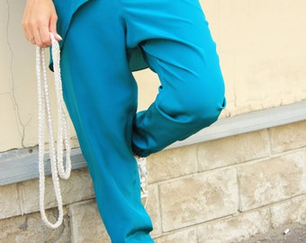 Loose Silk Pants / Casual Turquoise Pants / Loose Trousers / Unique Pants /Light Summer Pants/Casual Loose Pants / Extravagant Pants/R00067