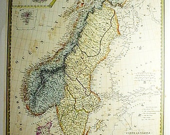 Norway and Denmark by A.M. Brue Old Map Print Reproduction