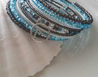 Memory wire bracelet , yoga, blue, brown,silver, glass Czech seed beads