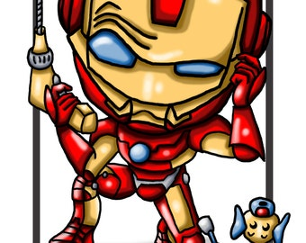 The Avengers / Original Drawing / Illustration for Children / Iron Man / A4 Print