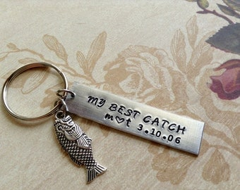 My Best Catch Anniversary Keychain/Fish Lover Hand Stamped /  Couple Gift/ Husband /Boyfriend/ Fathers Day/  Gift For Him/ Copper