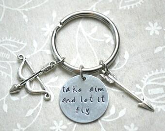 Bow Keychain, Arrow Keychain, Archery Keychain, Goal Keychain, Inspire Keychain, Stamped Keychain, Custom Keychain, Quote Keychain, Charm